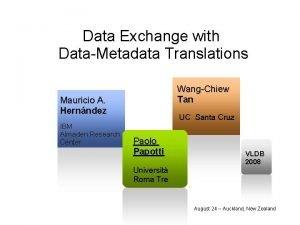 Data Exchange with DataMetadata Translations WangChiew Tan Mauricio
