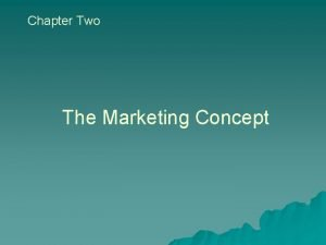 Chapter Two The Marketing Concept The Marketing Concept