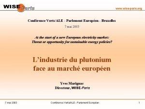 www wiseparis org Confrence VertsALE Parlement Europen Bruxelles