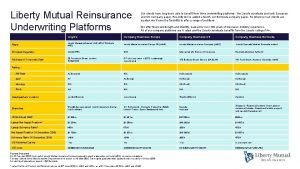 Liberty Mutual Reinsurance Underwriting Platforms Our clients have