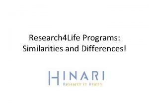 Research 4 Life Programs Similarities and Differences Table