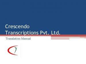 Crescendo Transcriptions Pvt Ltd Translation Manual Pay and