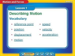 Describing Motion reference point speed position velocity displacement