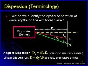 Dispersion Terminology How do we quantify the spatial