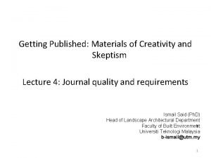 Getting Published Materials of Creativity and Skeptism Lecture