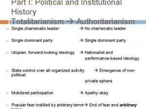Part I Political and Institutional History Totalitarianism Authoritarianism