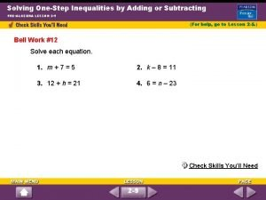 Solving OneStep Inequalities by Adding or Subtracting PREALGEBRA