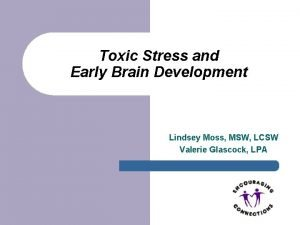 Toxic Stress and Early Brain Development Lindsey Moss