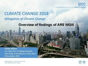 CLIMATE CHANGE 2014 Mitigation of Climate Change Youba