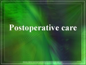 Postoperative care Mosby items and derived items 2005