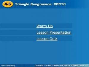 4 6 Triangle Congruence CPCTC 4 6 Triangle