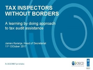 TAX INSPECTORS WITHOUT BORDERS A learning by doing