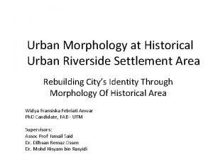 Urban Morphology at Historical Urban Riverside Settlement Area