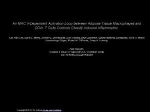 An MHC IIDependent Activation Loop between Adipose Tissue