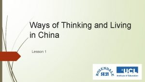 Ways of Thinking and Living in China Lesson