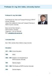 Professor Dr Ing Dirk Valle University Aachen Professor