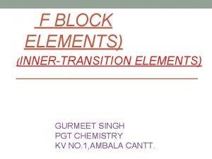 F BLOCK ELEMENTS INNERTRANSITION ELEMENTS GURMEET SINGH PGT