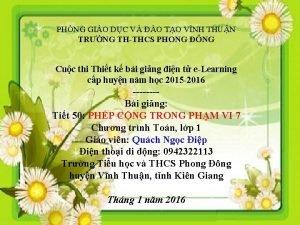PHNG GIO DC V O TO VNH THUN