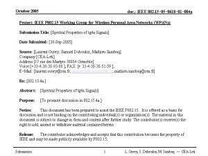 October 2005 doc IEEE 802 15 0618 01