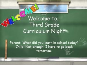 Welcome to Third Grade Curriculum Night Parent What