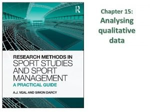 Chapter 15 Analysing qualitative data CONTENTS Introduction Data