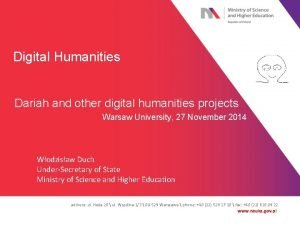 Digital Humanities Dariah and other digital humanities projects