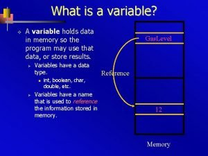 What is a variable v A variable holds