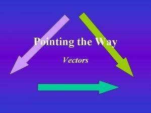 Pointing the Way Vectors Representing Vectors Vectors on