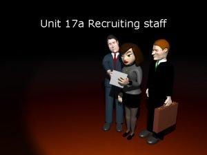 Unit 17 a Recruiting staff Brainstorm Brainstorm the