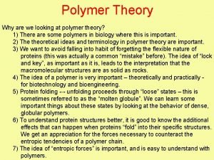 Polymer Theory Why are we looking at polymer