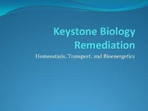 Keystone Biology Remediation Homeostasis Transport and Bioenergetics Homeostasis