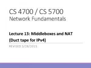 CS 4700 CS 5700 Network Fundamentals Lecture 13