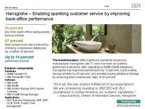 IBM SAP Alliance Retail Hansgrohe Enabling sparkling customer