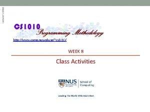 Lecturers slides http www comp nus edu sgcs
