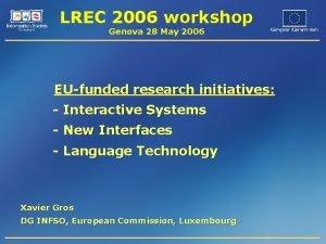LREC 2006 workshop Genova 28 May 2006 EUfunded