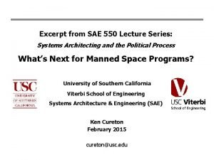 Excerpt from SAE 550 Lecture Series Systems Architecting