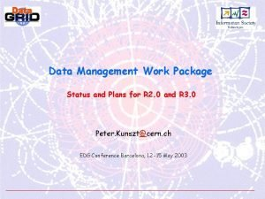 Data Management Work Package Status and Plans for