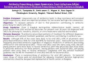 Antibiotic Prescribing in Upper Respiratory Tract Infections URIs