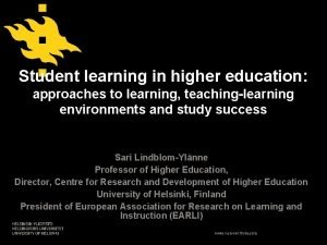 Student learning in higher education approaches to learning