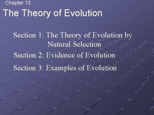 Chapter 13 Theory of Evolution Section 1 Theory