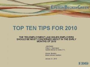 TOP TEN TIPS FOR 2010 THE TEN EMPLOYMENT