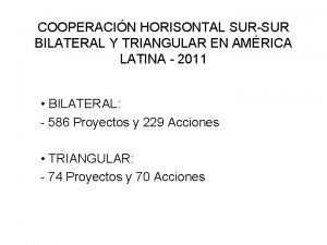 COOPERACIN HORISONTAL SURSUR BILATERAL Y TRIANGULAR EN AMRICA
