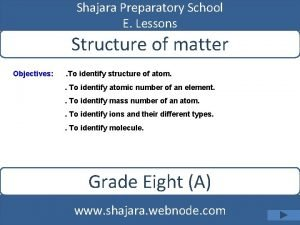 Shajara Preparatory School E Lessons Structure of matter