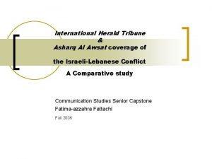 International Herald Tribune Asharq Al Awsat coverage of