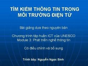 TM KIM THNG TIN TRONG MI TRNG IN