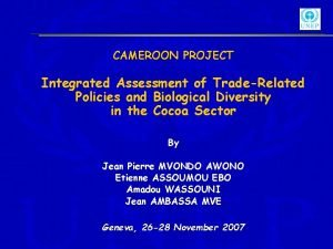 CAMEROON PROJECT Integrated Assessment of TradeRelated Policies and