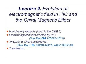 Lecture 2 Evolution of electromagnetic field in HIC