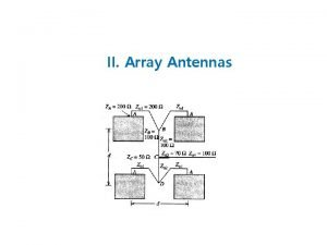 II Array Antennas Array of Radiating Elements Higher