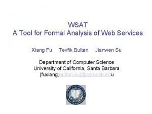 WSAT A Tool for Formal Analysis of Web