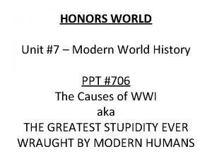 HONORS WORLD Unit 7 Modern World History PPT
